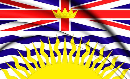 3D Flag of British Columbia, Canada. Close Up.