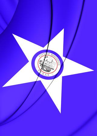 houston: 3D Flag of Houston (Texas), USA. Close Up.