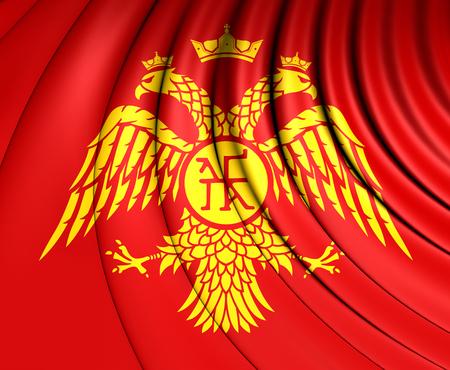 dynasty: Byzantine Eagle, 3D Flag of Palaiologos Dynasty. Stock Photo