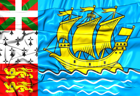collectivity: 3D Flag of Saint Pierre and Miquelon, France. Stock Photo