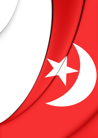 united arab emirate: 3D Flag of Umm al-Quwain, UAE. Close Up. Stock Photo
