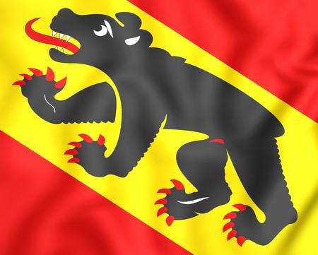 Flag 3D du canton de Berne, en Suisse. Fermer. Banque d'images - 48524122