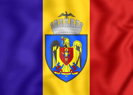 3D Flag of Bucharest, Romania. Close Up. Stock Photo