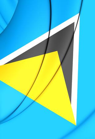 st lucia: 3D Flag of Saint Lucia. Close Up. Stock Photo