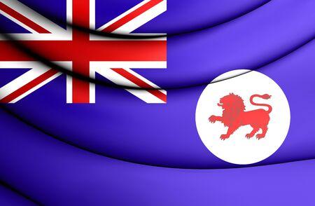 tasmania: 3D Flag of Tasmania, Australia. Close Up. Stock Photo
