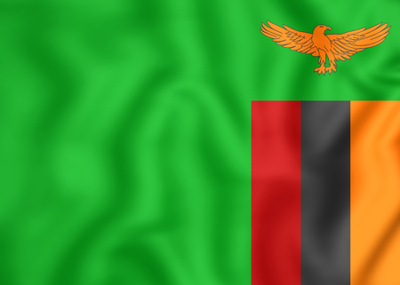 zambian flag: 3D Flag of the Zambia. Close Up.