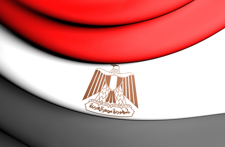egypt: 3D Flag of the Egypt. Close Up.
