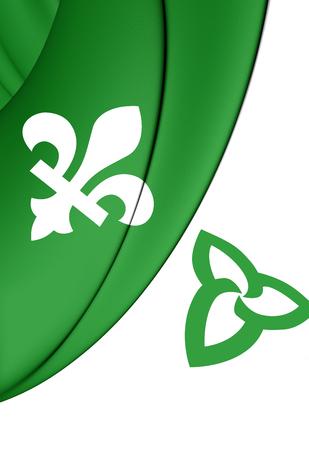 ontario: 3D Franco-Ontarian Flag. Ontario, Canada. Front View. Stock Photo