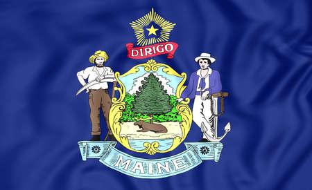 maine: 3D Flag of Maine, USA. Close Up. Stock Photo