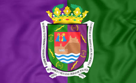 city coat of arms: 3D Flag of Malaga City, Spain. Close Up.