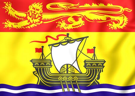 3d flag: 3D Flag of New Brunswick Province, Canada. Stock Photo