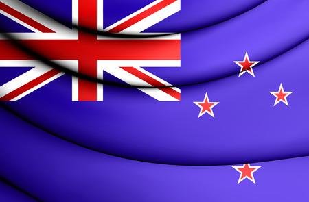 bandera de nueva zelanda: 3D Bandera de Nueva Zelanda. De cerca. Foto de archivo