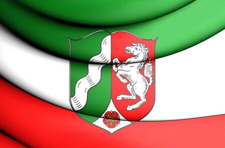 rhine westphalia: 3D Flag of North Rhine-Westphalia, Germany. Close Up.