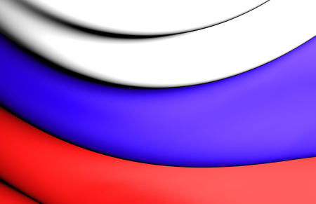 europe closeup: 3D Flag of the Russia. Close Up.