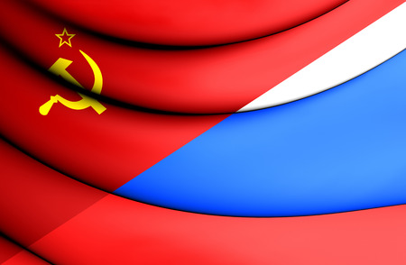 communistic: 3D Flag of the Soviet Union and Russia.