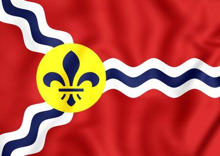 louis: 3D Flag of St. Louis (Missouri), USA.