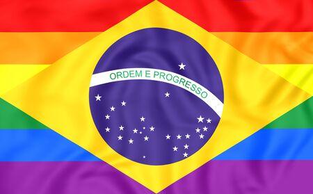 bandera gay: Brasil Bandera Gay. De cerca. Vista frontal.