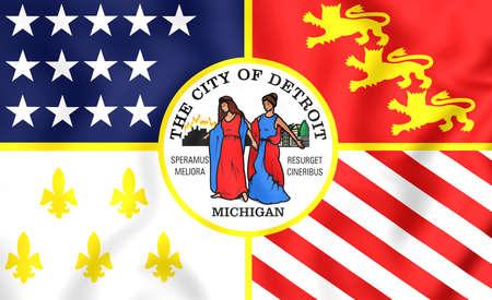 detroit: 3D Flag of Detroit (Michigan), USA. Close Up. Stock Photo