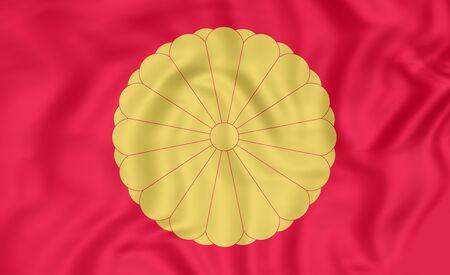 emperor: 3D Flag of Japanese Emperor. Close Up.
