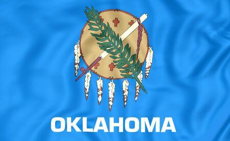 bandera estados unidos: 3D Bandera de Oklahoma, EE.UU.. De cerca. Foto de archivo