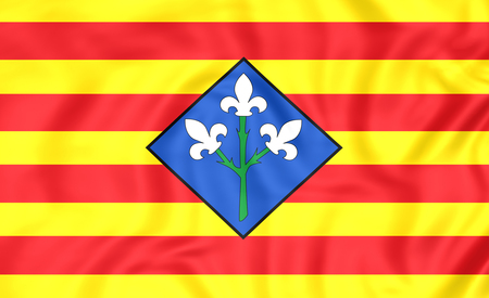 province: 3D Flag of Lleida Province, Spain. Close Up.
