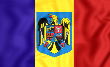rumanian: 3D Flag of the Romania. Close Up.