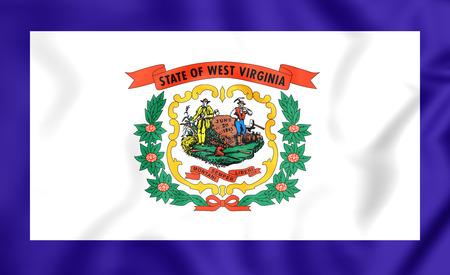 3d virginia: 3D Flag of West Virginia, USA. Close Up. Stock Photo
