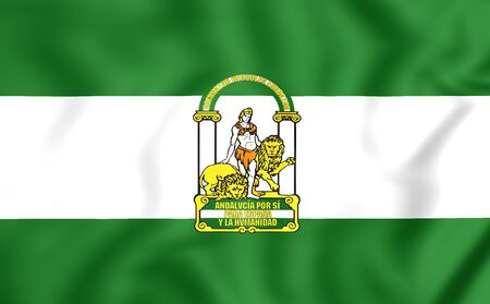spainish: 3D Flag of Andalusia, Spain. Close Up. Stock Photo