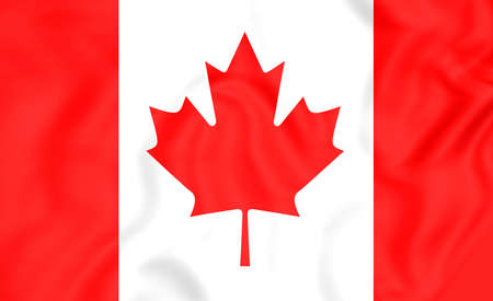 canadian state flag: 3D Flag of the Canada. Close Up.