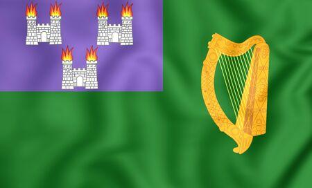 irish cities: 3D Flag of Dublin, Ireland. Close Up.