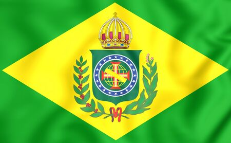 empire: 3D Empire of Brazil Flag (1822-1889). Close Up. Stock Photo