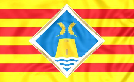 formentera: 3D Flag of Formentera, Spain. Close Up.