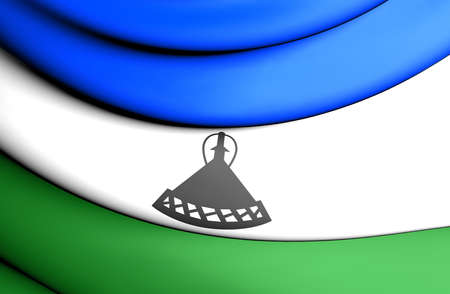 lesotho: 3D Flag of the Lesotho. Close Up. Stock Photo
