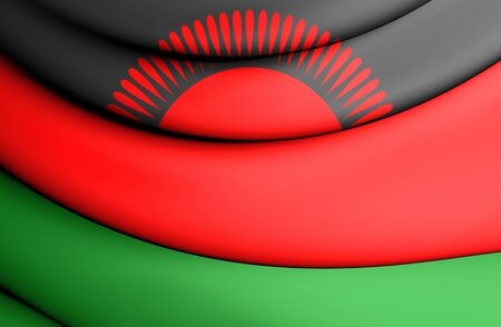 malawian: 3D Flag of the Malawi. Close Up.
