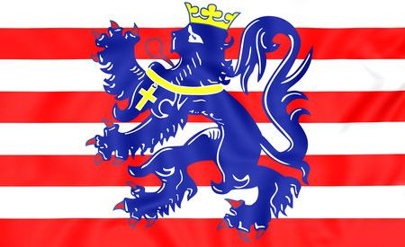 3D Flag of Bruges, Belgium. Close Up. Stock Photo