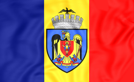 rumanian: 3D Flag of Bucharest, Romania. Close Up. Stock Photo