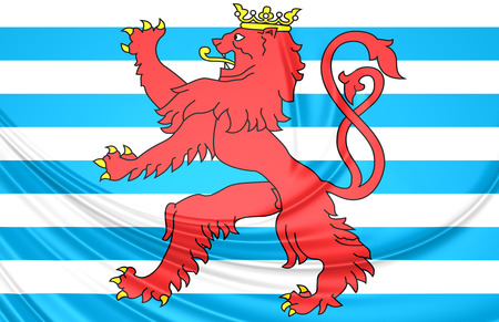 ensign: 3D Civil Ensign of Luxembourg. Close Up.