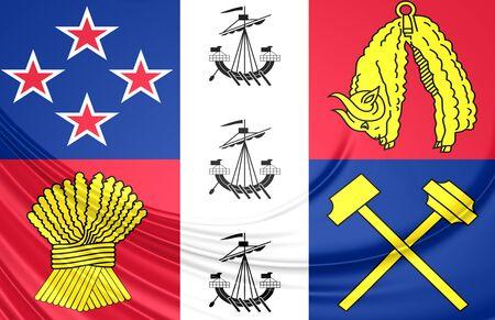 coronation: 3D Coronation Standard of New Zealand. Close Up.