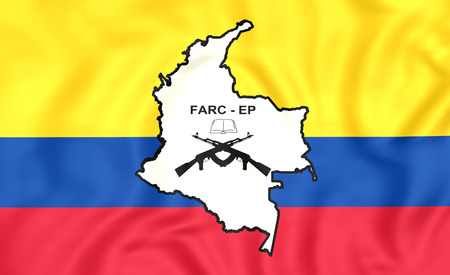 pueblo: 3D Flag of the FARC-EP. Close Up.
