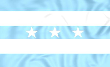 ecuador: 3D Flag of Guayaquil, Ecuador. Close Up.