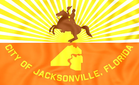 jacksonville: 3D Flag of Jacksonville (Florida), USA. Close Up.