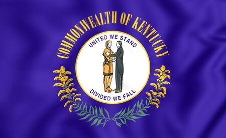 kentucky: 3D Flag of Kentucky, USA. Close Up.