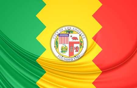 los angeles: 3D Flag of Los Angeles, USA. Close Up. Stock Photo