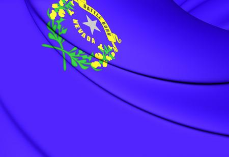 nevada: 3D Flag of Nevada, USA. Close Up.