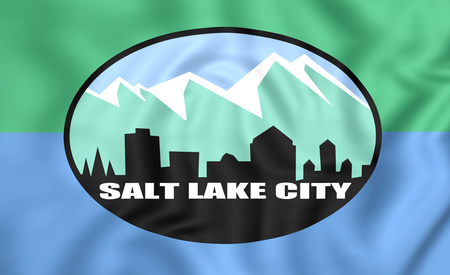 salt lake city: 3D Flag of Salt Lake City (Utah), USA.
