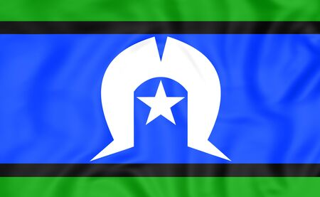 torres: 3D Flag of Torres Strait Islanders. Close Up. Stock Photo