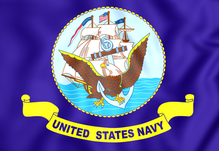 3D United States Navy Flag. Close Up. Stock Photo