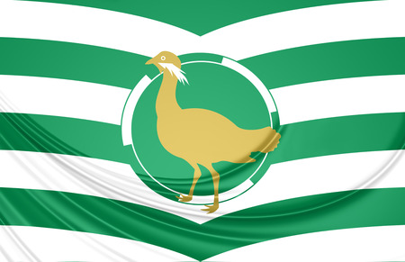 3D Flag of Wiltshire County, England. Close Up.