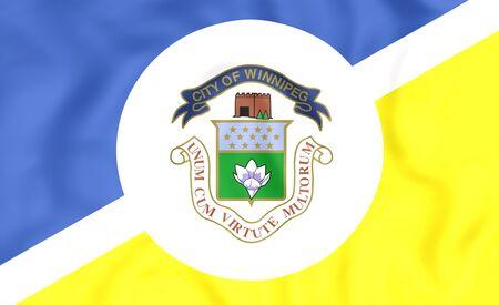 winnipeg: 3D Flag of Winnipeg, Canada. Close Up.