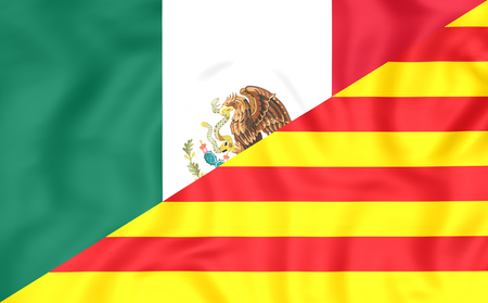 3D Flag of Mexico and Catalonia. Close Up. Stock Photo